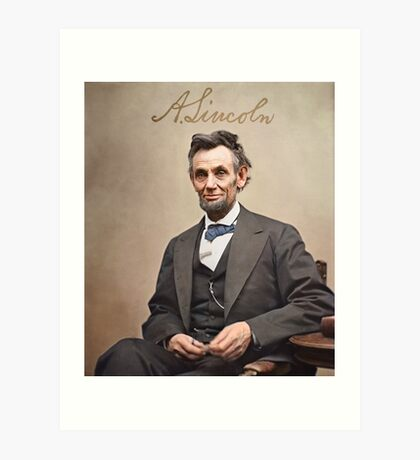 Colorized  - Abraham Lincoln with Signature Art Print