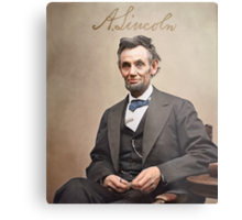 Colorized  - Abraham Lincoln with Signature Metal Print