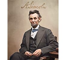 Colorized  - Abraham Lincoln with Signature Photographic Print
