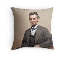 Colorized  - Abraham Lincoln with Signature Throw Pillow