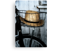 Amish Hat in Wire Basket Canvas Print