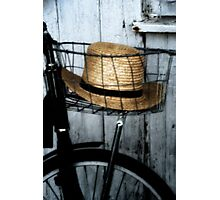 Amish Hat in Wire Basket Photographic Print