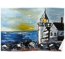 ACEO Original Oil Painting - Maine Lighthouse Poster