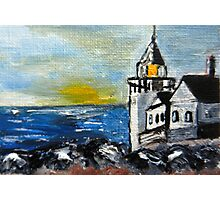 ACEO Original Oil Painting - Maine Lighthouse Photographic Print