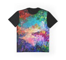 WELCOME TO UTOPIA Bold Rainbow Multicolor Abstract Painting Forest Nature Whimsical Fantasy Fine Art Graphic T-Shirt