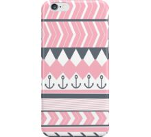 Trendy chic anchor gray pink chevron triangles iPhone Case/Skin