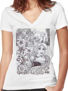 Monochrome Princess A Women's Fitted V-Neck T-Shirt