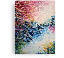 PARADISE DREAMING Colorful Pastel Abstract Art Painting Textural Pink Blue White Tropical Brushstrokes Canvas Print