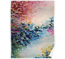 PARADISE DREAMING Colorful Pastel Abstract Art Painting Textural Pink Blue White Tropical Brushstrokes Poster