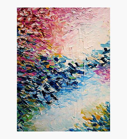 PARADISE DREAMING Colorful Pastel Abstract Art Painting Textural Pink Blue White Tropical Brushstrokes Photographic Print