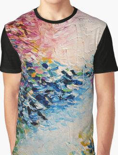 PARADISE DREAMING Colorful Pastel Abstract Art Painting Textural Pink Blue White Tropical Brushstrokes Graphic T-Shirt