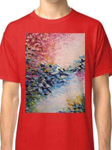 PARADISE DREAMING Colorful Pastel Abstract Art Painting Textural Pink Blue White Tropical Brushstrokes Classic T-Shirt