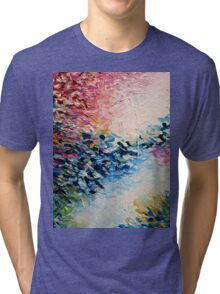 PARADISE DREAMING Colorful Pastel Abstract Art Painting Textural Pink Blue White Tropical Brushstrokes Tri-blend T-Shirt