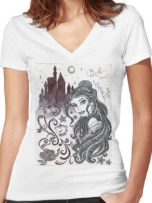 Monochrome Princess B Women's Fitted V-Neck T-Shirt