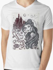 Monochrome Princess B Mens V-Neck T-Shirt