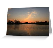 Orange Sunset over Lisle High School Greeting Card