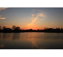Orange Sunset over Lisle High School Photographic Print