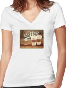 Castle's Coffee T-Shirt Women's Fitted V-Neck T-Shirt