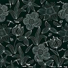 White on Black: Doodle Flowers by Nataliia-Ku