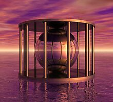 Metal Cage Floating In Water by Phil Perkins