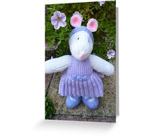 Hand Knitted Girl Mouse Greeting Card