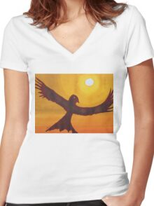 Red Crow Repulsing the Monkey original painting Women's Fitted V-Neck T-Shirt