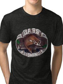 <º))))><   BASS FISHING TEE SHIRT <º))))><    Tri-blend T-Shirt