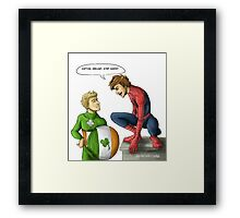 Spidey and Cap Framed Print