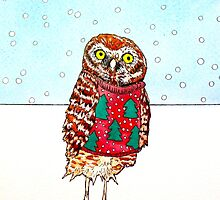 Burrowing Owl in an Ugly Christmas Sweater by Arpita Choudhury