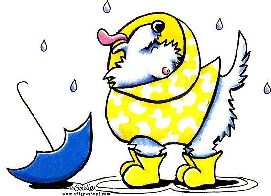 Westie Rainy Day by offleashart