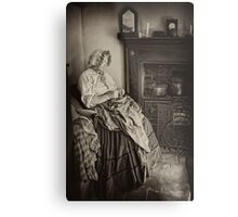 Darning by the fire Metal Print