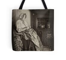 Darning by the fire Tote Bag