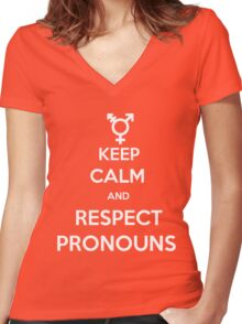 Respect Pronouns Women's Fitted V-Neck T-Shirt