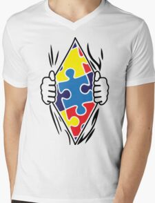 Autism Superhero Mens V-Neck T-Shirt