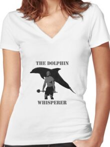 The Dolphin Whisperer Women's Fitted V-Neck T-Shirt