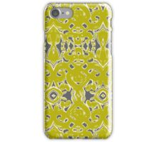 Chartreuse damask iPhone Case/Skin