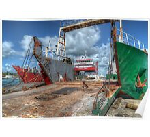 Cargo Boats at Potter's Cay - Nassau, The Bahamas Poster