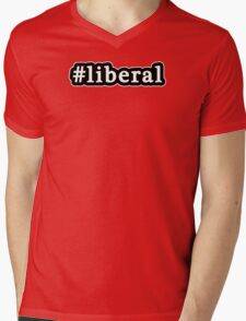 Liberal - Hashtag - Black & White Mens V-Neck T-Shirt