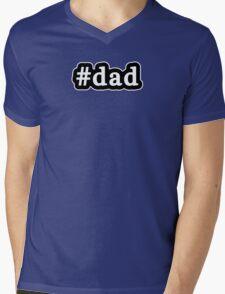 Dad - Hashtag - Black & White Mens V-Neck T-Shirt