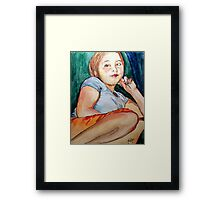 Sarah's TV Watching Position Framed Print
