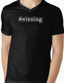 Winning - Hashtag - Black & White Mens V-Neck T-Shirt