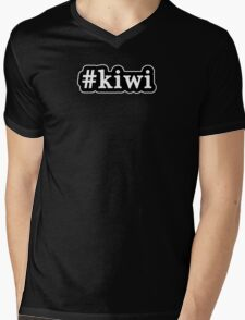 Kiwi - Hashtag - Black & White Mens V-Neck T-Shirt