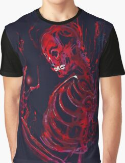 Red Cosmos Skeleton Graphic T-Shirt