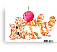 2013 Holiday ATC 20 - Kitten Playing with Ornament Canvas Print