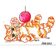 2013 Holiday ATC 20 - Kitten Playing with Ornament Photographic Print