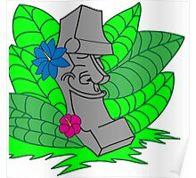 Tropical Easter Island Head Poster