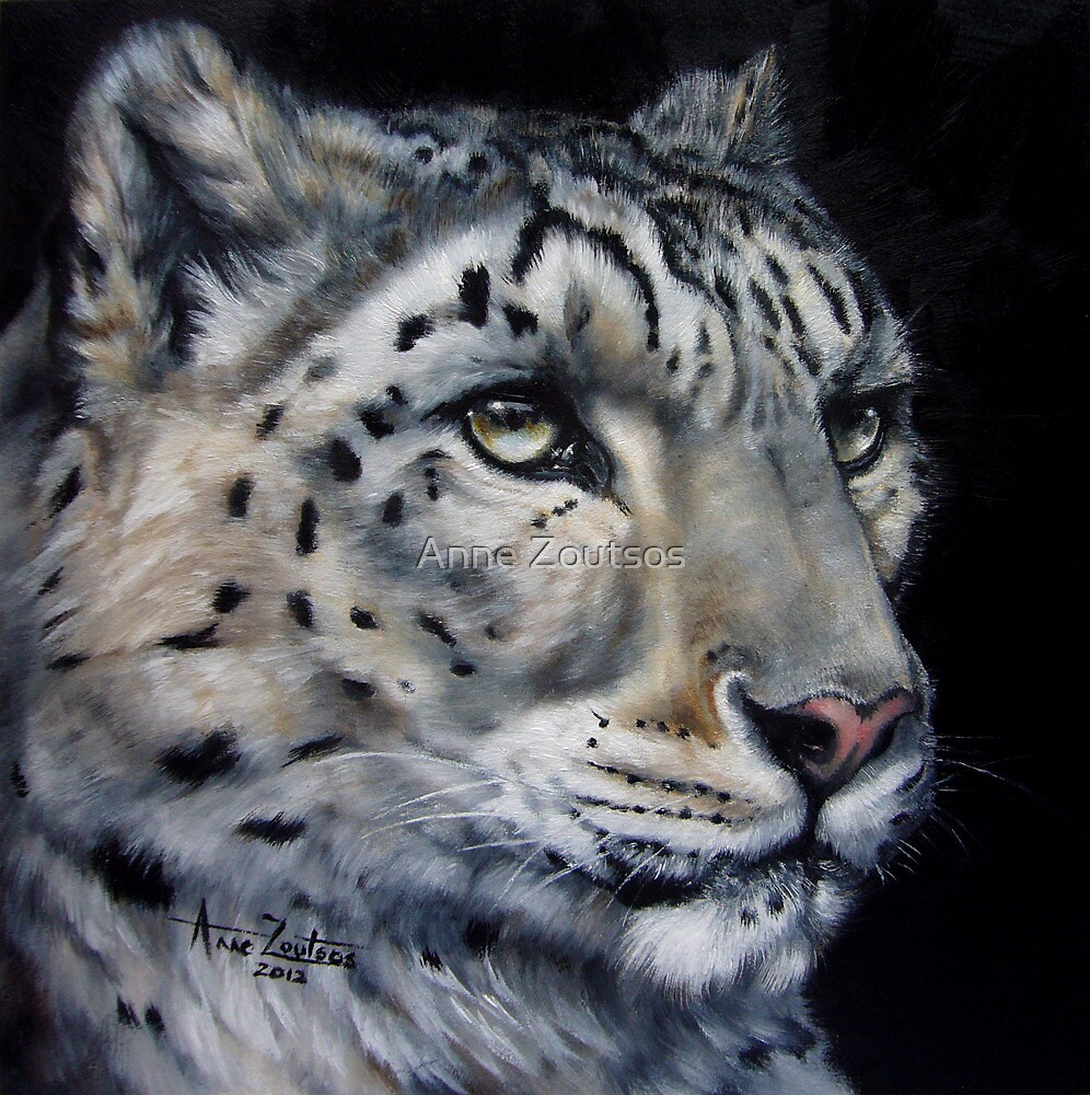 Snow and Fire (Snow Leopard) by Anne Zoutsos