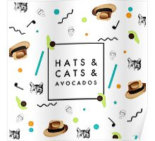 Hats & Cats & Avocados Poster