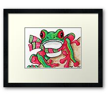 2013 Holiday ATC 21 - Red and Green Frog Framed Print
