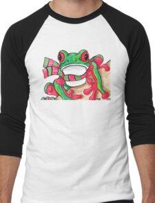 2013 Holiday ATC 21 - Red and Green Frog Men's Baseball ¾ T-Shirt